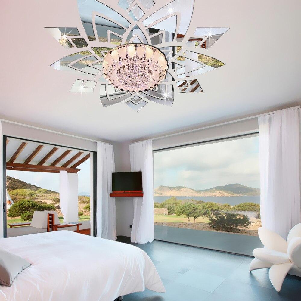 Fleur ornée décorative 3d acrylique miroir Stickers muraux autocollants plafond salon chambre décor chambre décoration Stickers