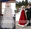 Cheap Bridal Cape Ivory Stunning Wedding Cloaks Hooded with Faux Fur Trim Red White Perfect For Winter Long Wraps Jacket 2016