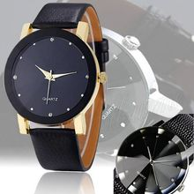 Fashion Causal New Men's Fashion Quartz Sport Military Stainless Steel Dial Leather Wrist Watch