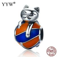 New Fashion 100 Authentic 925 Sterling Silver Lucky Cat European Bead Without Troll Enamel 10x10x15mm Hole