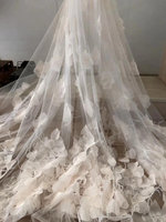 light blue 3D lace fabric with Ostrich feather haute couture dress