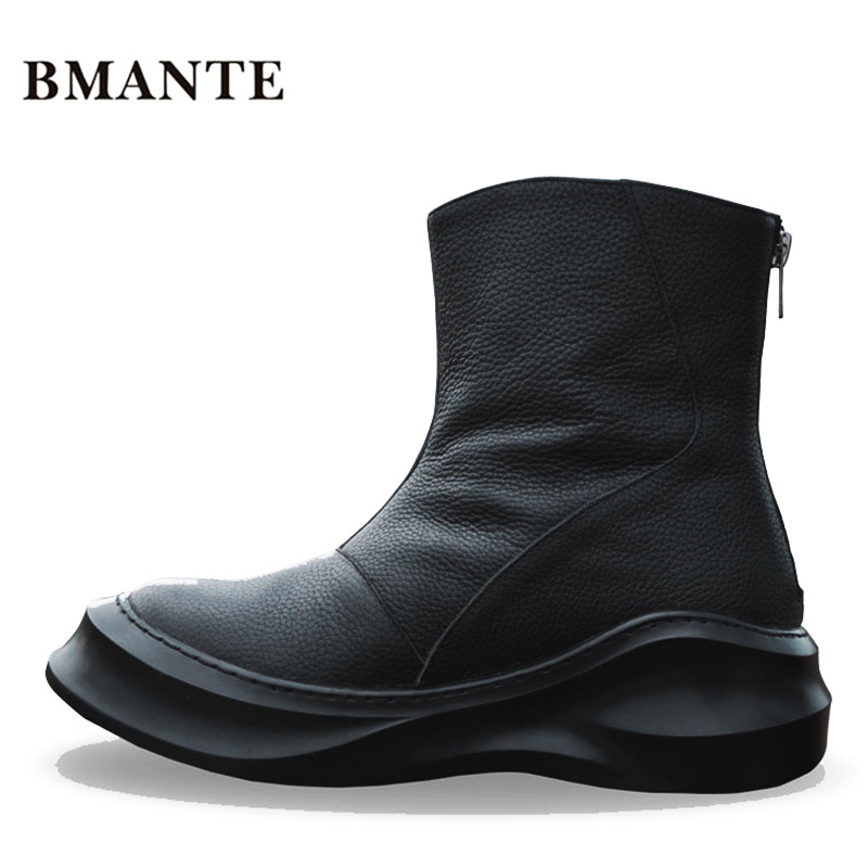luxury famous Real leather brand fashion male Casual hightop shoe tall Footwear high top Thick sole tide Platform Flat boots men все цены