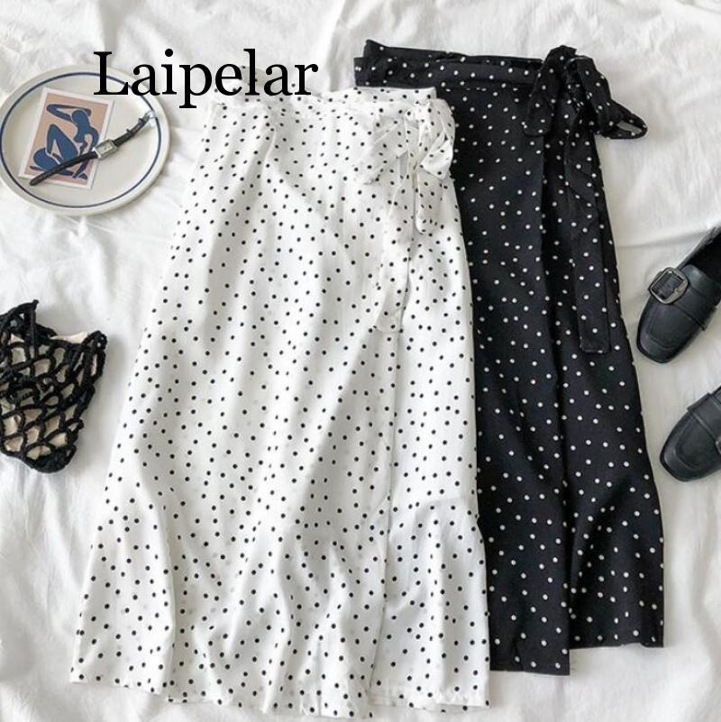 Laipelar 2019 New Women High Waist Polka Dots Skirt Elegant Midi Long Skirts Wrap Dots Chiffon Skirt Korean Fashion
