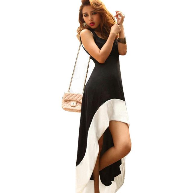 Mulheres verão assimétrica vestidos de mangas longas maxi dress patchwork preto branco bodycon evening vestidos de festa vestidos