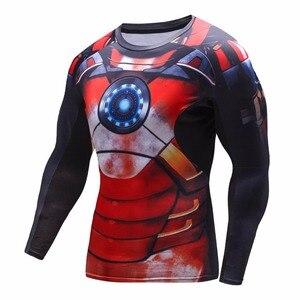 Image 2 - 2016 jesienno zimowa koszulka kompresyjna oddychająca siatka Fitness odzież marki dla mężczyzn Quick Dry 3d Men Crossfit S 2xl