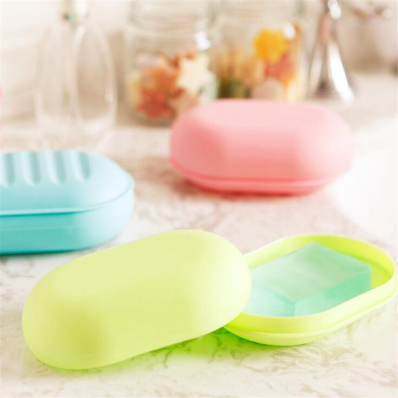 HOMETREE Candy Colors Cute Cartoon Soap Dish Box Case Holder Wash Dust-proof Shower Home Bathroom Accessories Set Soap Dish H20