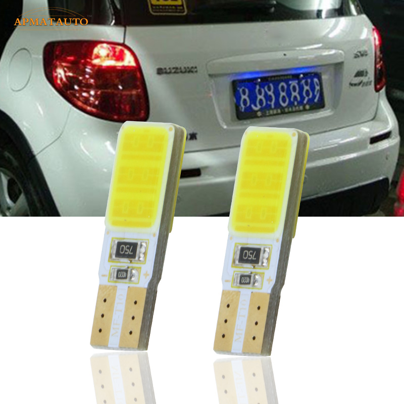 2 x T10 W5W For SAMSUNG COB Chip License Number Plate Light LED Bulbs Lamp For Suzuki Liana Auto SX4 Vitara Swift