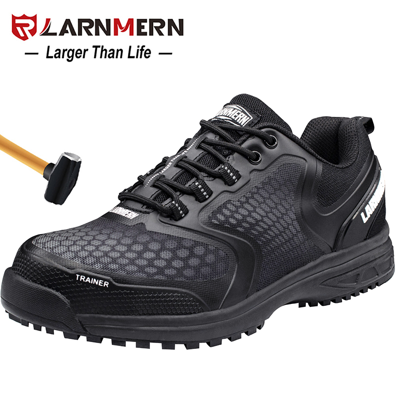 LARNMERN Men s Work Safety Shoes Steel Toe Breathable Anti smashing Anti puncture Non slip Construction