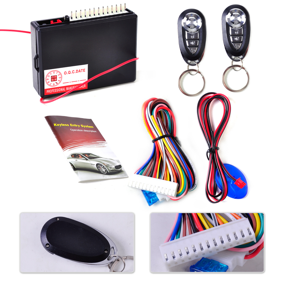 DWCX Car Vehicle Keyless Entry System Central Door Locking Control 2 Remote Controller f ...