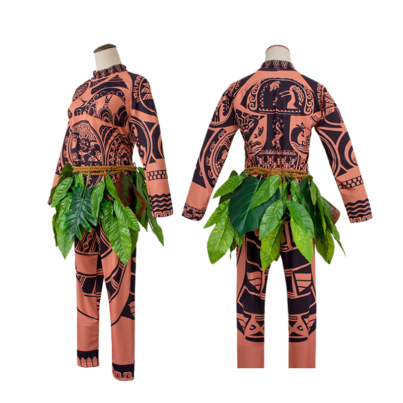 Moana Maui Tattoo T Shirt/Pants Jumpsuit Adult Mens Women Cosplay Costumes with Leaves Decor Blattern Halloween Adult Cosplay