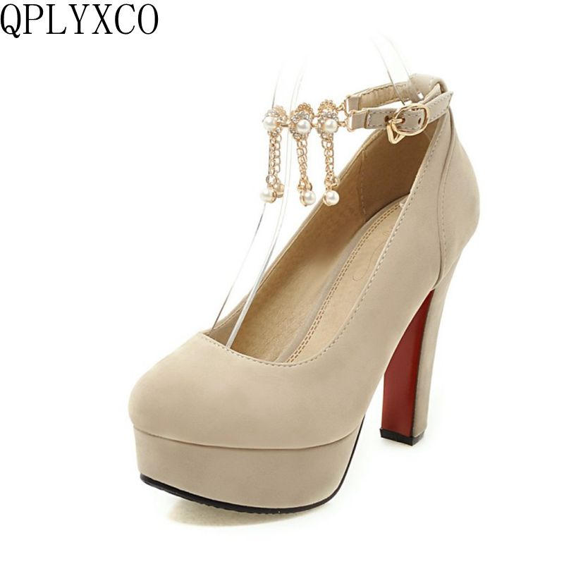 QPLYXCO 2017 New sale sweet fashion big small size 31-47 women shoes high heel lady spring autumn pumps party wedding shoes T-2 qplyxco 2017 sale big
