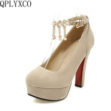 цены QPLYXCO 2017 New sale sweet fashion big small size 31-47 women shoes high heel lady spring autumn pumps party wedding shoes T-9