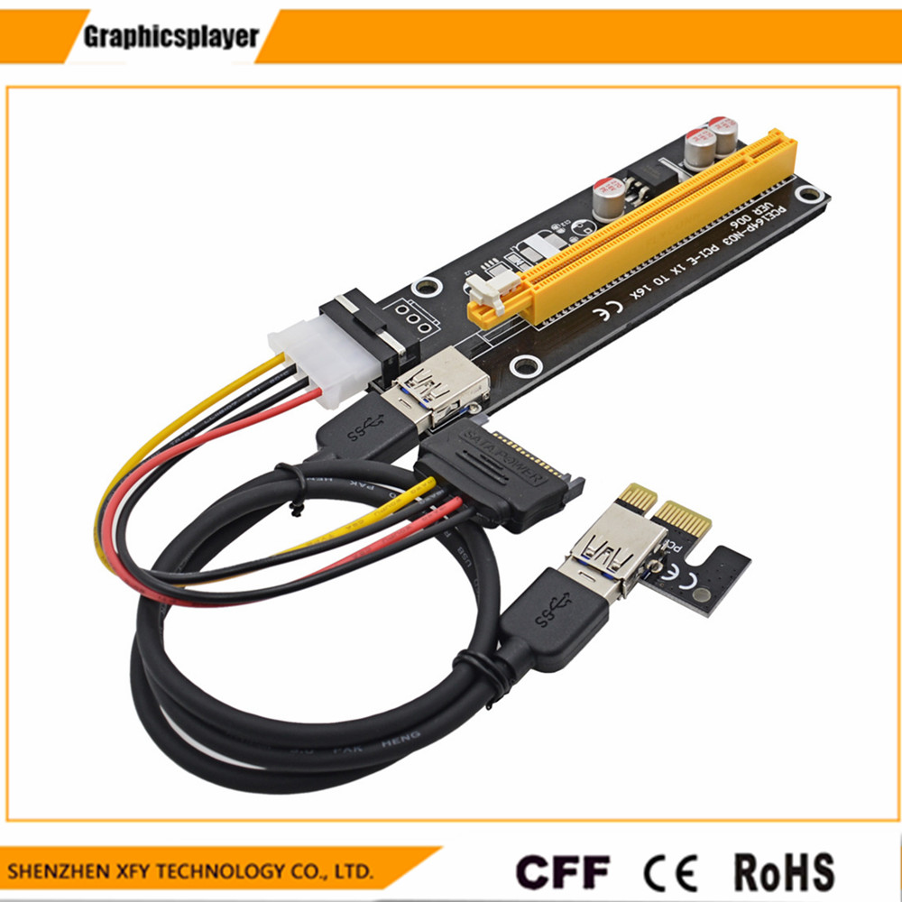 Көтерме USB 3.0 PCI-E Express 1X 4x 8x 16x Extender Riser адаптері Card SATA 15pin Male to 4pin қуат кабелі 10pcs / lot