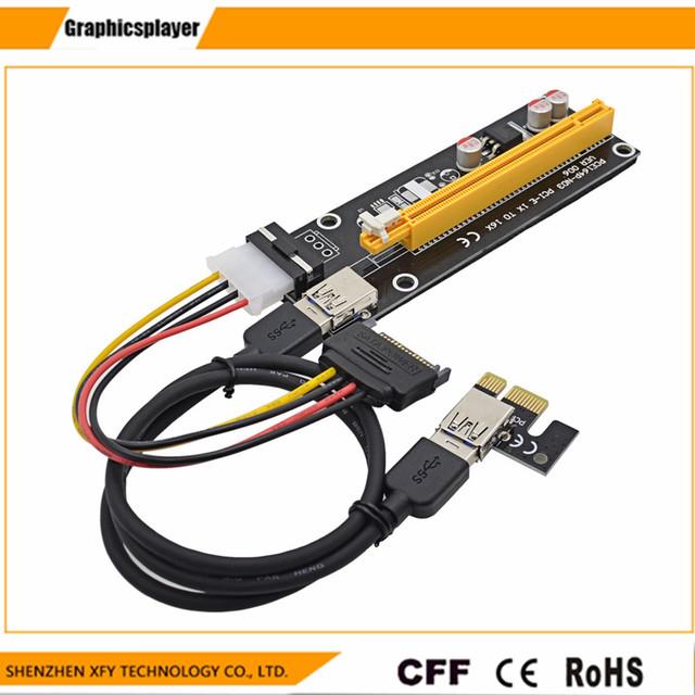Wholesale USB 3.0 PCI-E Express 1X 4x 8x 16x Extender Riser Adapter Card SATA 15pin Male to 4pin Power Cable 10pcs/lot