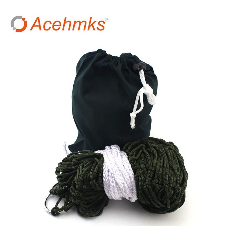 Acehmks Nylon Mesh Rope Hammock Swing 260CM * 80CM Outdoor Portable Ultralight Hammocks Camping Bed With Tree Ropes 200CM * 2 hammock tree hammocks outdoor camping child swing outdoor