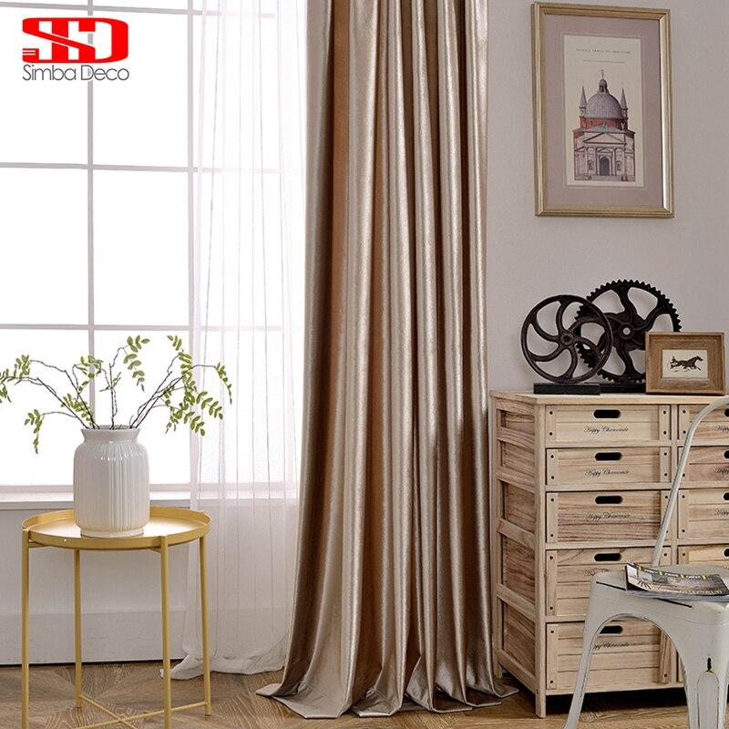 Modern Beludru Padat Pemadaman Tirai Untuk Ruang Tamu Buta Mewah - Tekstil rumah