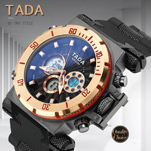 Mens Watches Top Brand Luxury Quartz Digital Double Movement Watch Men Waterproof Dual Display Multiple Time Zone New Arrival 2016 new arrival oulm 3580 mens top brand watches original 3 time high quality leather strap japan movt quartz imported watch
