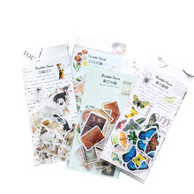 34pcs/pack Specail Shape Animal Plant Retro Objects Paper Stickers Handbook Album DIY Cute Kawaii Decorative Label