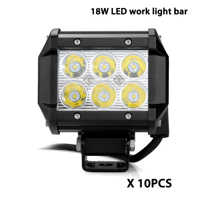 10pcs 18W LED work light bar high power spot flood driving fog lamp for car automotive motorcycle SUV F150 F250 offroad 4x4 led