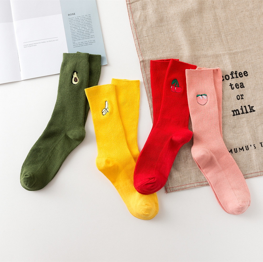 New women's Harajuku personality fun fashion cute cartoon colorful fruit pattern cotton casual   socks   1 pairs