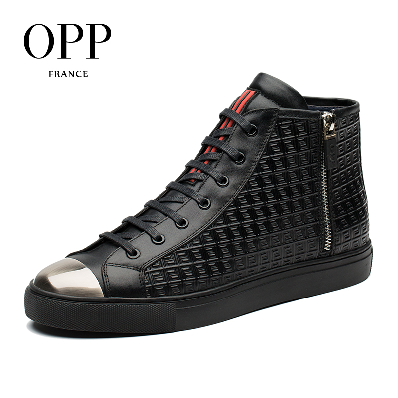OPP 2017 Genuine Leather High-top Shoes Men Casual Leather Shoes for men men boots shoes Winter Boots men Ankle Boots autumn warm plush winter shoes men zipper 100% genuine leather boots men thick bottom waterproof black high top ankle men boots