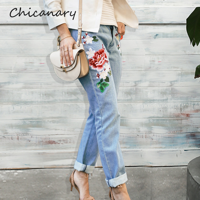 Chicanary Floral Embroidery Jeans Female Winter Zipper Straight Denim Pants Jeans Women Fashion Pocket Light Blue