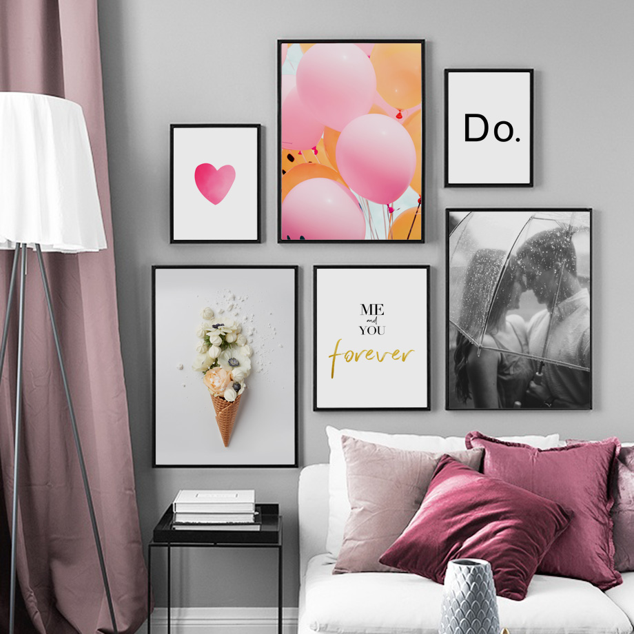 Gohipang Canvas Painting Balloon Wall-Pictures Ice-Cream Nordic Posters Lover Flower
