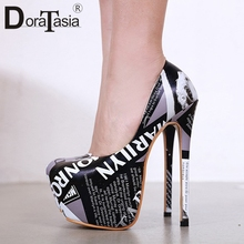 цена на DORATASIA New Sexy Super High Thin Heels Party Pumps Women 2019 Autumn Fashion Print Platform High Heels Shoes Woman For Wedding