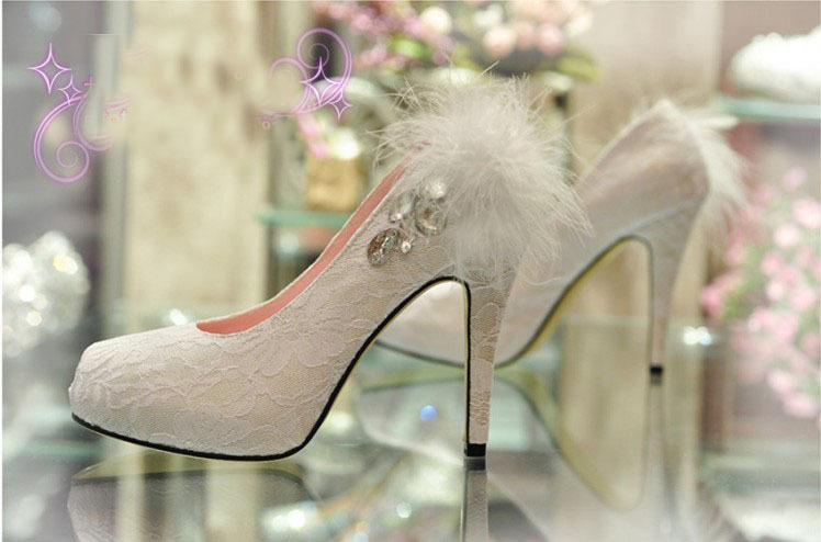 2018 Handmade NewStyle lace wedding shoes Spring white feather crystal high-heeled shoes bridal shoes wedding formal dress shoes