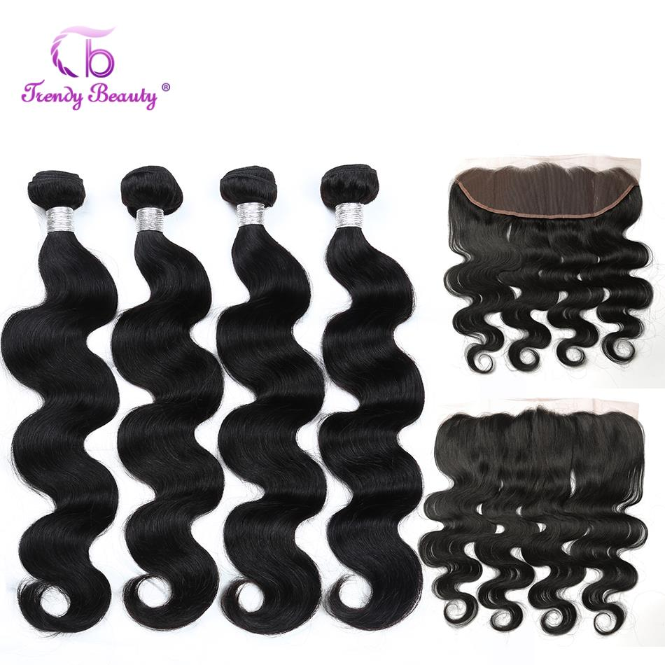 Brazilian Body Wave Hair Bundles With Lace Frontal 100% Human Hair 4 Bundles With Lace Frontal Trendy Beauty Non-Remy