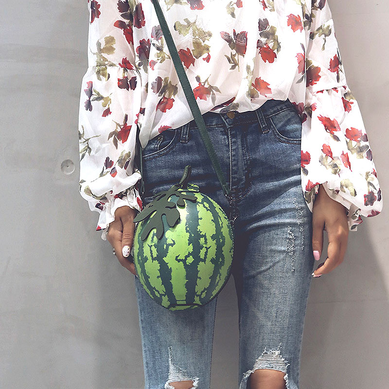 2018 New Fashion Women Messenger Shoulder Bag Watermelon Shape PU Leather Mini Girls Crossbody Bags Handbag Sac Bolsa Feminina fashion women mini messenger bag pu leather shell shape bag crossbody shoulder bags with deer toy popular
