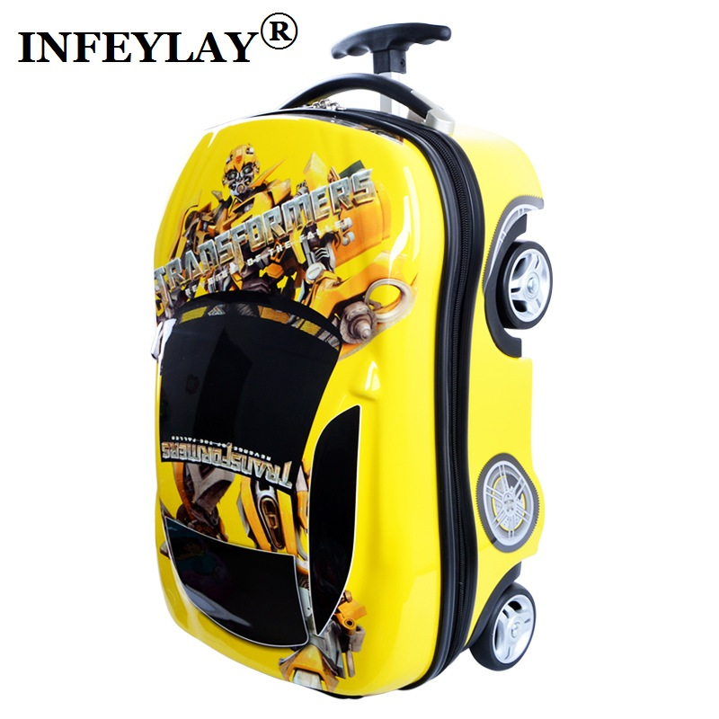 COOL Bumblebee cars kids 3D ABS PC trolley case children luggage child suitcase toy boy cartoon