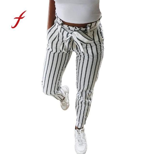 3abad901d8f Feitong pantalon femme pants women Skinny Striped Long Tie High Waist linen pants  trousers women Popular Pants harajuku befree