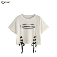 ROMWE Casual Printed T shirt Women Crop Tops Women 2017 Summer White Letter Print Short Sleeve Lace-Up Crop T-shirt