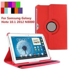 Para Samsung Galaxy Note 10.1 GT-N8000 2012 Caja de la Tableta N8000 N8010 N8020 360 Soporte Giratorio de la Cubierta de Cuero Del Soporte Del Tirón
