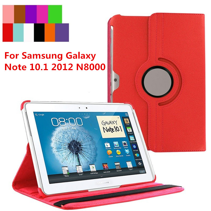 For <font><b>Samsung</b></font> Galaxy Note 10.1 2012 <font><b>GT</b></font>-N8000 N8000 N8010 N8020 Tablet Case 360 Rotating Bracket Flip Stand Leather Cover image