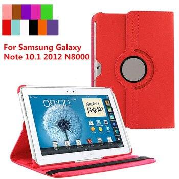 Para Samsung Galaxy Note 10,1 2012 GT-N8000 N8000 N8010 N8020 tableta funda 360 giratorio soporte plegable cubierta de cuero