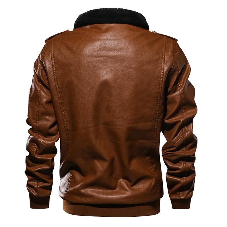 TACVASEN Men Leather Jacket Winter Bomber Jacket Autumn Military Fleece Jacket Coat Motorcycle Windbreaker EUR Size PU Leather