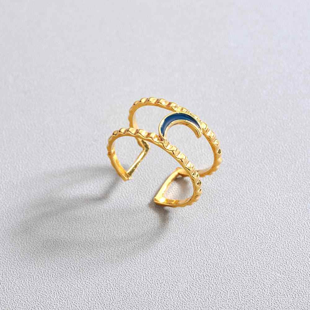 Chandler Enamel Moon คู่ลวดแหวนเรขาคณิต Hollow แหวนผู้หญิงผู้ชาย Statement Simply Gold สี Anillos Bague