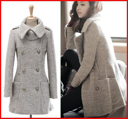 Fall 2015 Korean Designer Slim Fit Military Style Long Wool Pea ...