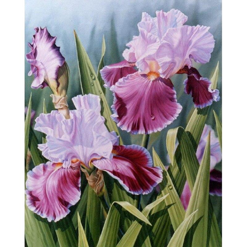 5D DIY plein Carré/Rond Forage diamant peinture point de Croix belle iris fleur Strass broderie Maison Mosaïque décor cadeau
