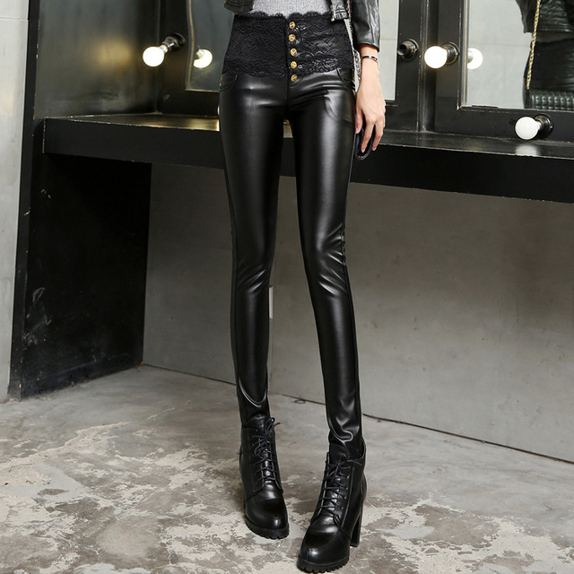 bbec2653bd6324 Hot Sale New Arrival Girl's Sexy Black Faux Leather Leggings Women2016 Leather  Pants Plus Wool Free