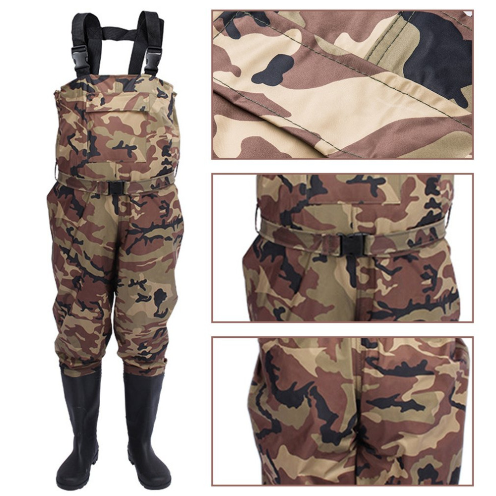 Men Waterproof Fishing Waders Outdoors Waist Waders Pants Boots Camouflage Pant Fishing Hunting Boots Suit Rubber Boot