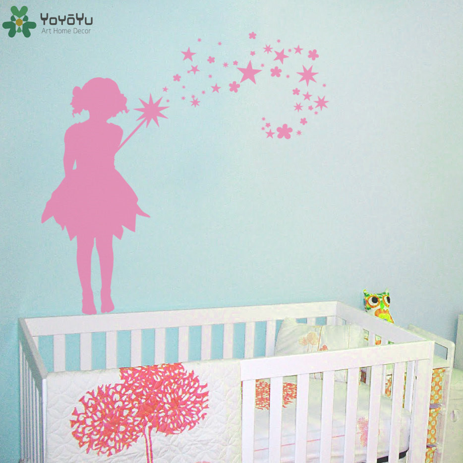 Fairy silhouette pattern wall stickers for kids room magical fairy silhouette pattern wall stickers for kids room magical design girls bedroom wall decal princess star art mural decor sy222 in hair clips pins from amipublicfo Image collections