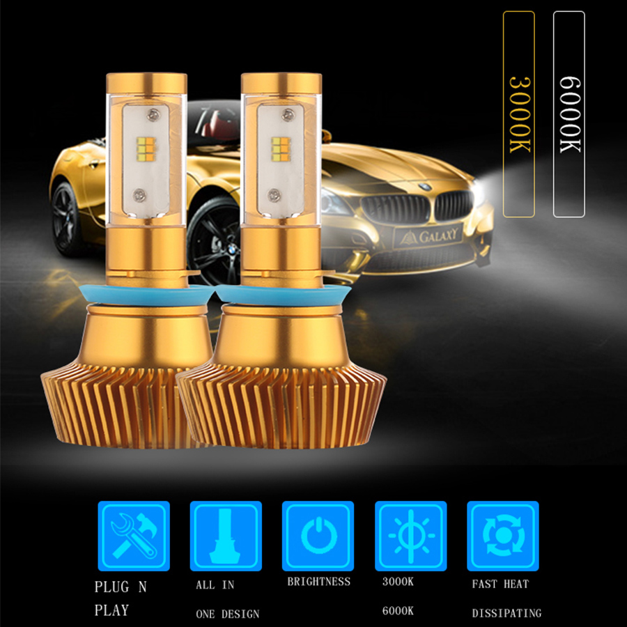 все цены на 2X ALL IN ONE 45W 4800LM Dual Colors  H4 LED Headlight Bulb 6000K White 3000K Yellow LED H7 9012 H11 9005 9006 онлайн