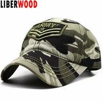 585b0d426cd LIBERWOOD ARMY Embroidery Basics Cap hat Camo outdoor dad Hat Army Tactical  Sun Baseball Cap Snapback