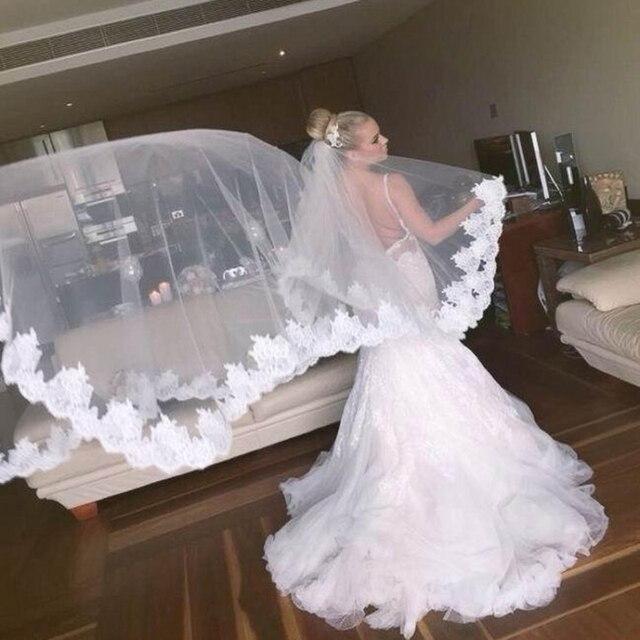 Meters Long Wedding Veil Cheapest Chapel Length White Ivory Bridal Veil Lace Appliques  Veu