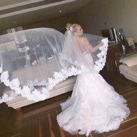 3 Meters Long Wedding Veil Cheapest Chapel Length White Ivory Bridal Veil Lace Appliques 2018 Veu De Noiva Longo bride veil