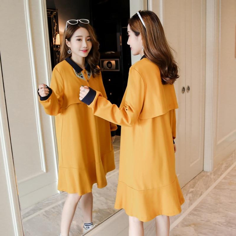 Autumn Pregnancy Nursing Dress For Pregnancy Woman Long Sleeve Loose Breast-feeding Dress Maternity Clothes