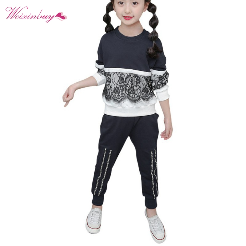 Winter Girls Clothing Sets New Active Girls Clothing Sets Children Clothing Cartoon Print Sweatshirts+Pants Suit